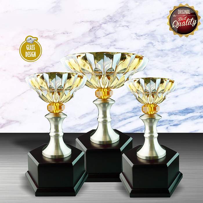 WS6046 - Exclusive White Silver Trophy With Crystal Bowl